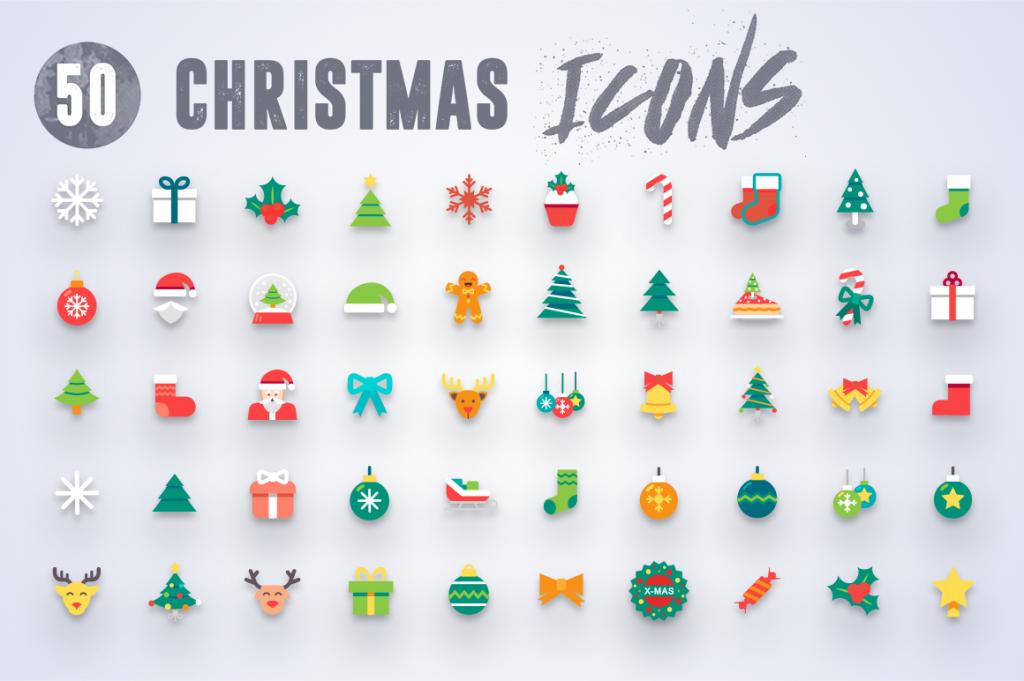 White Background 50 Christmas Icons 3