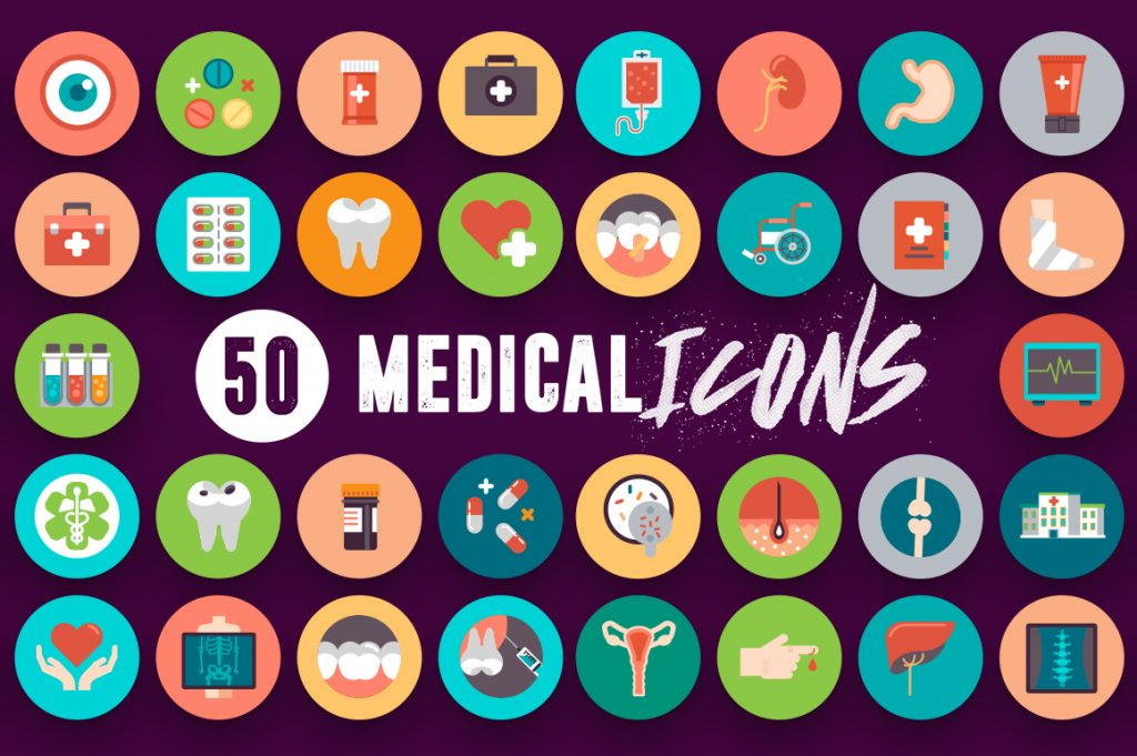 White Background 50 Medical Icons