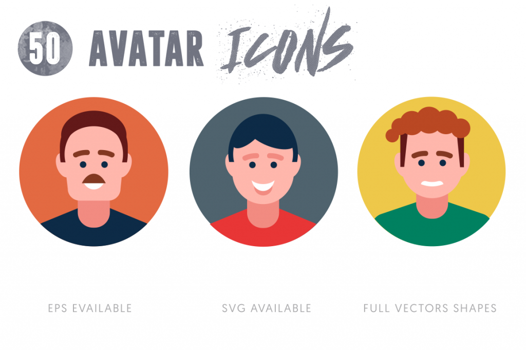 EPS, SVG, PNG full vector 50 Avatar Icons