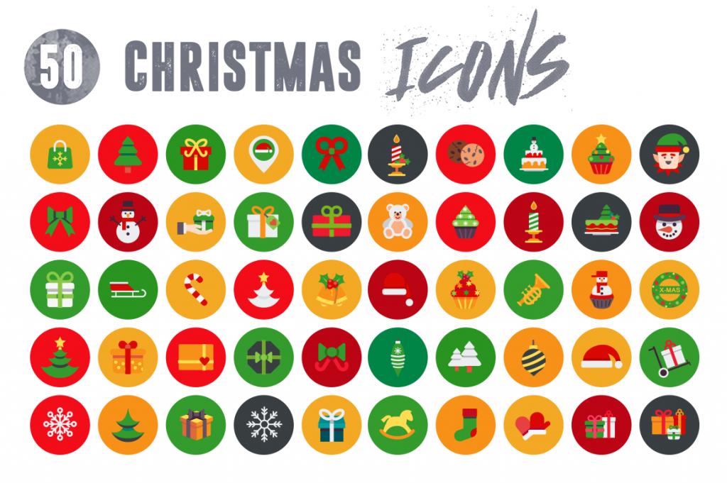 Customizable and vector 50 Christmas Icons