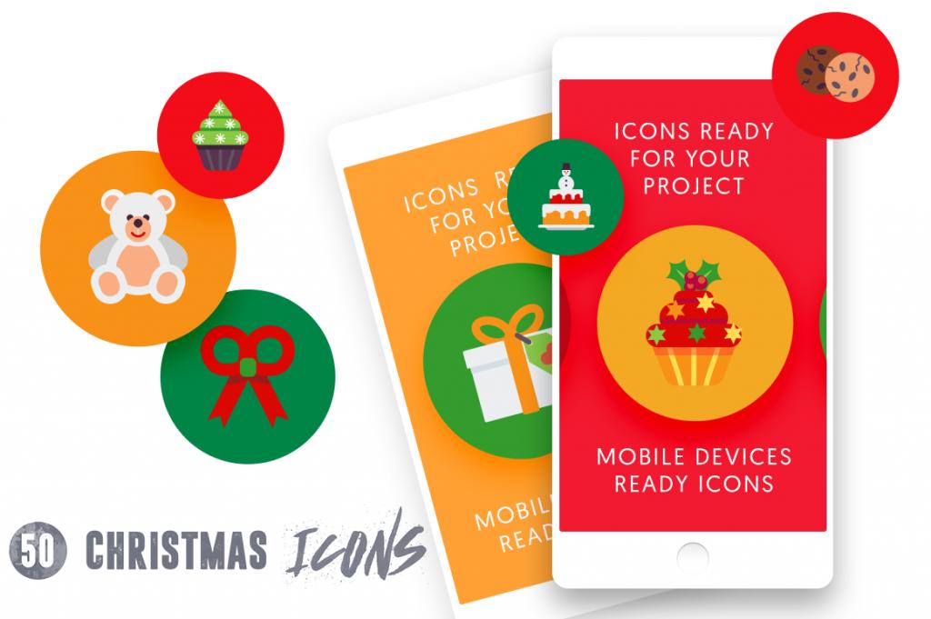 Mobile Ready 50 Christmas Icons