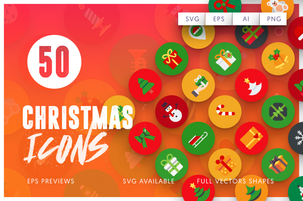 EPS, SVG, PNG full vector 50 Christmas Icons