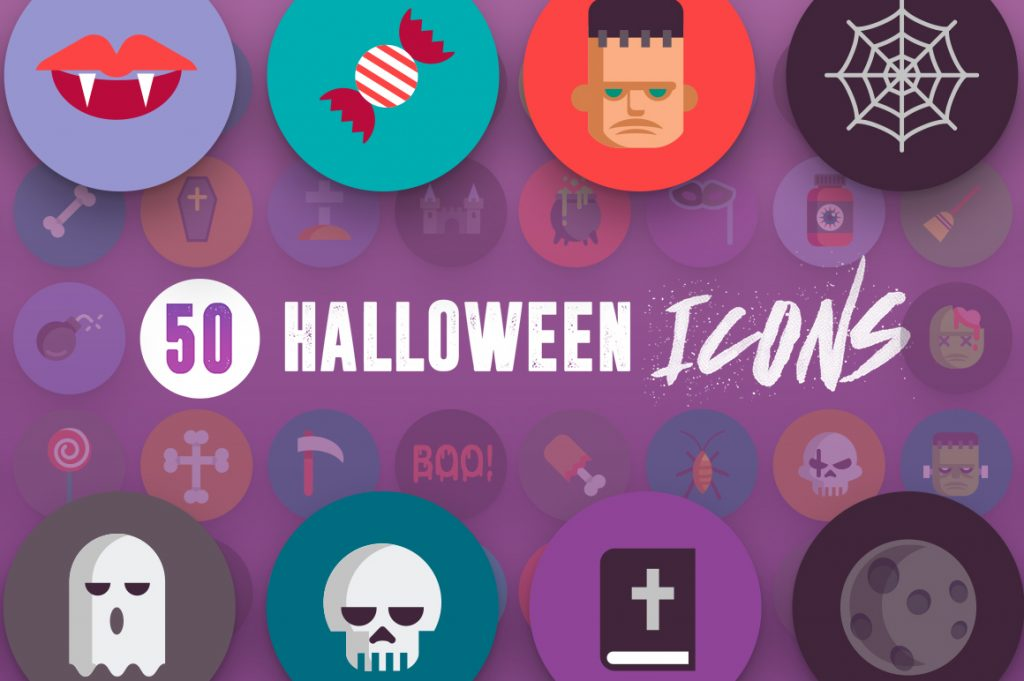 Modern 50 Halloween Icons pack