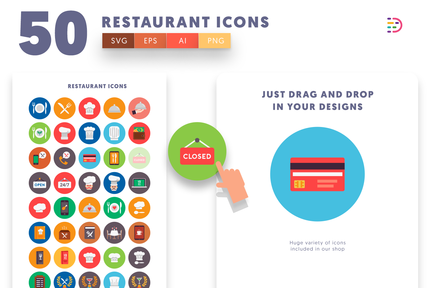 Drag and drop vector 50 Restaurant Icons