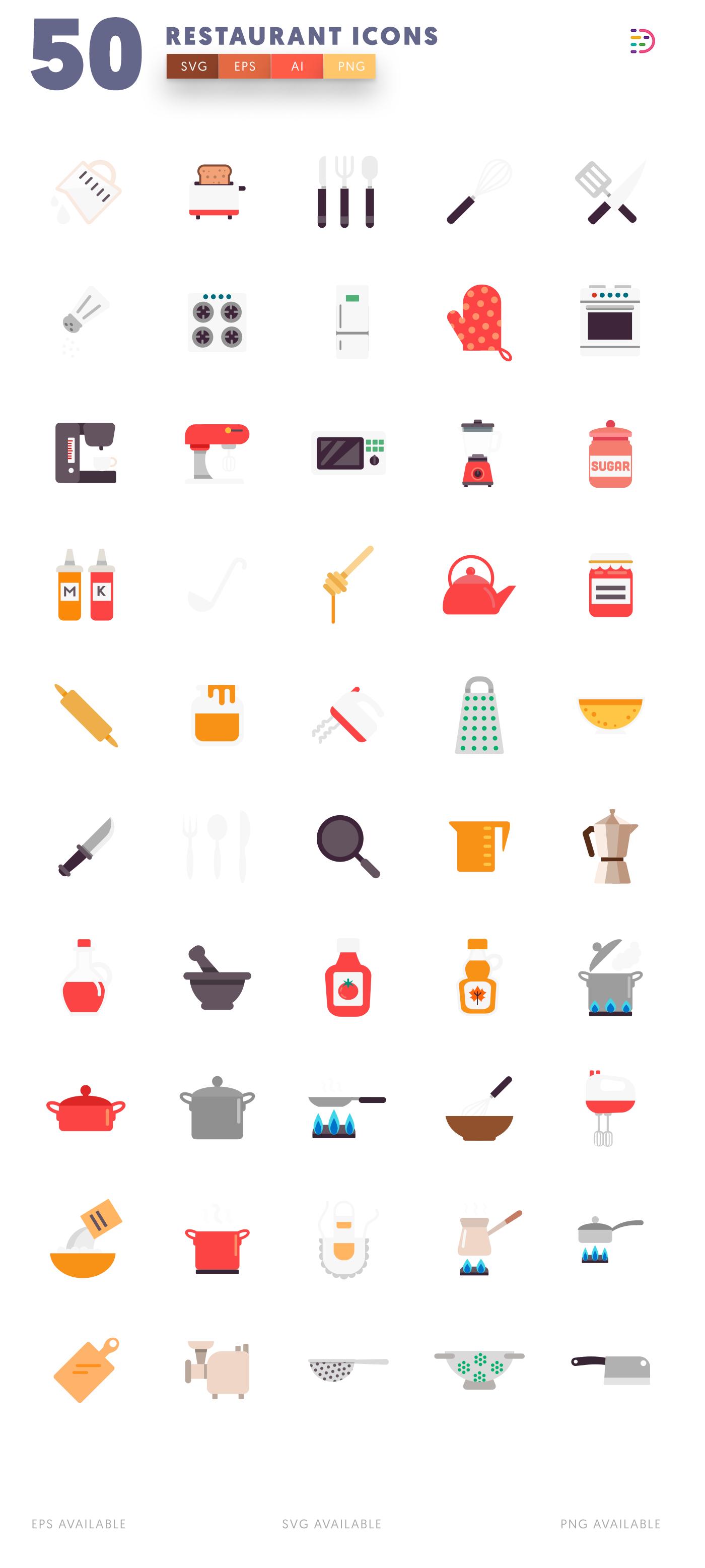 White background 50 Restaurant Icons