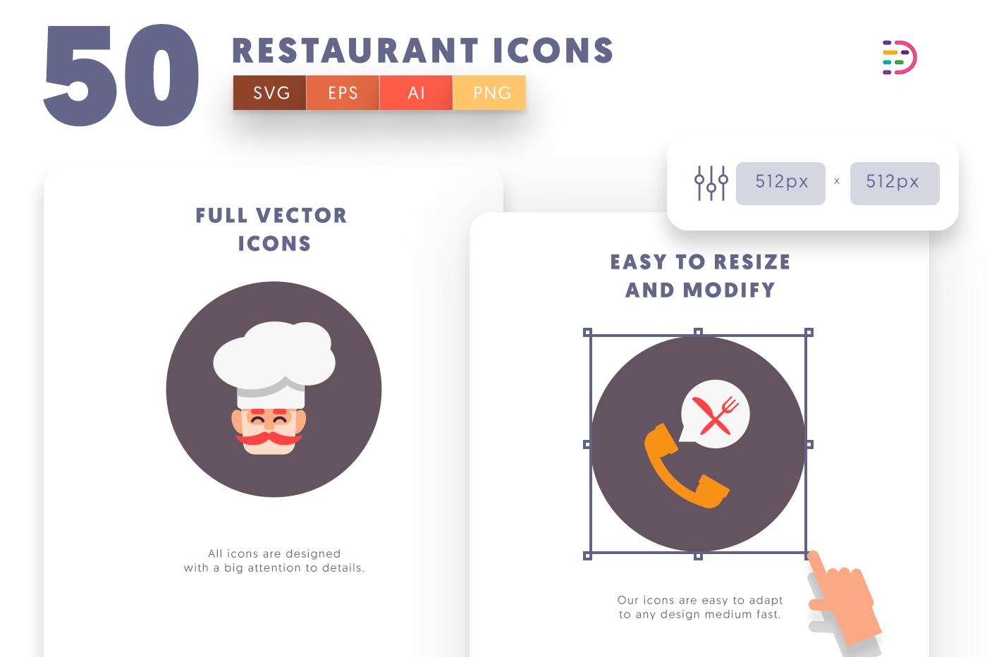 Customizable 50 Restaurant Icons