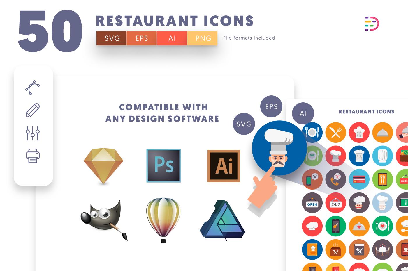 EPS, SVG, PNG full vector 50 Restaurant Icons