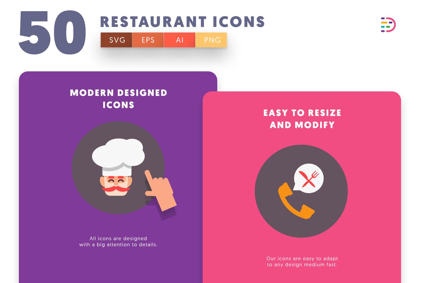 Full vector 50 Restaurant Icons