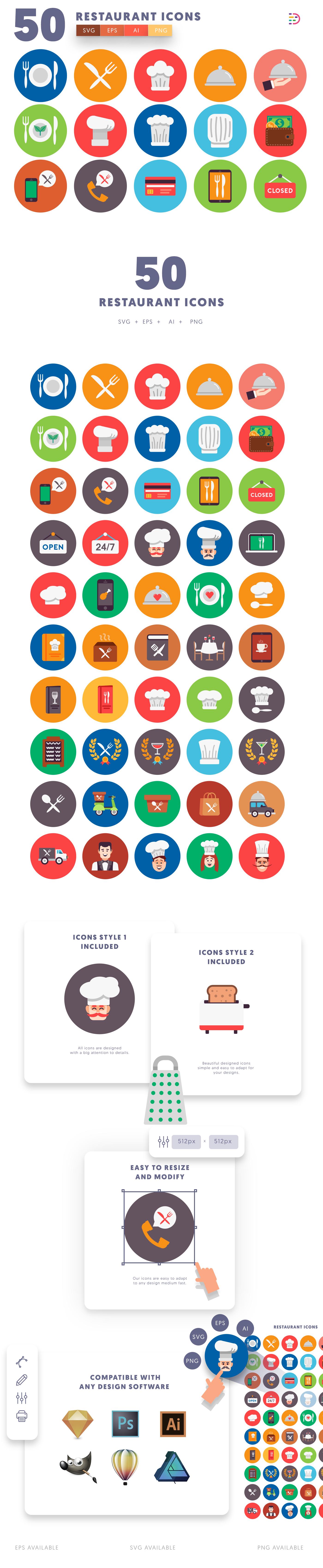 50-Restaurant-Flat-Icons