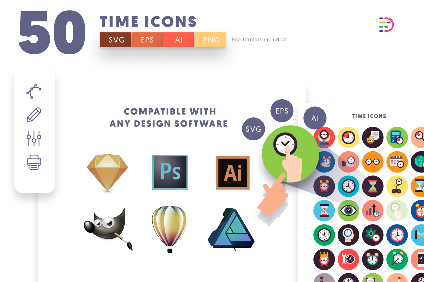 EPS, SVG, PNG full vector 50 Time Flat Icons