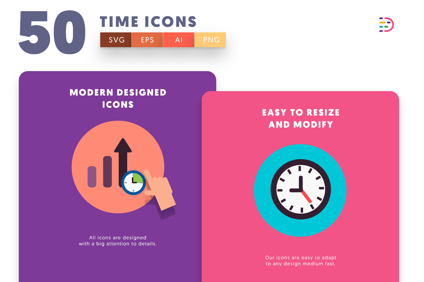 50 Time Flat Icons with colored backgrounds