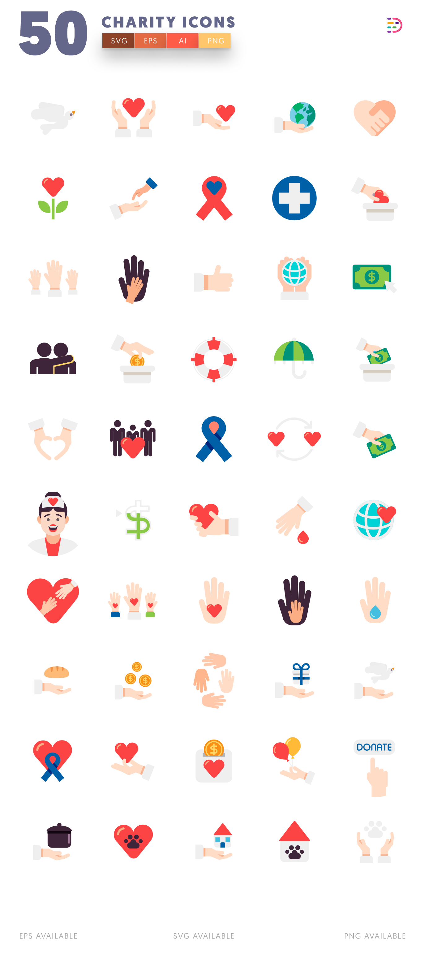 Compatible 50 Charity Icons pack