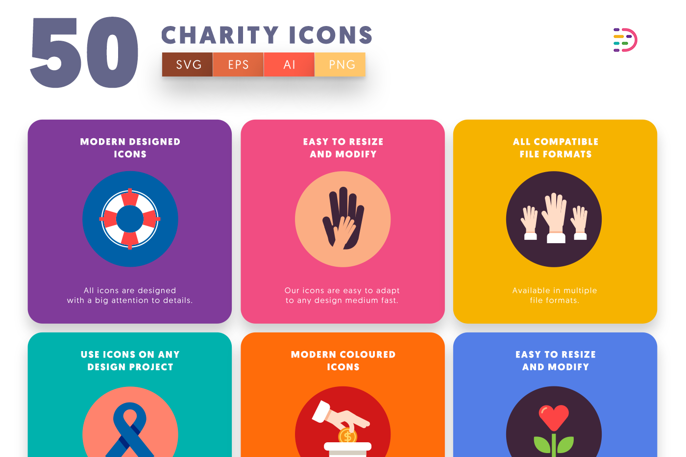 Customizable and vector 50 Charity Icons