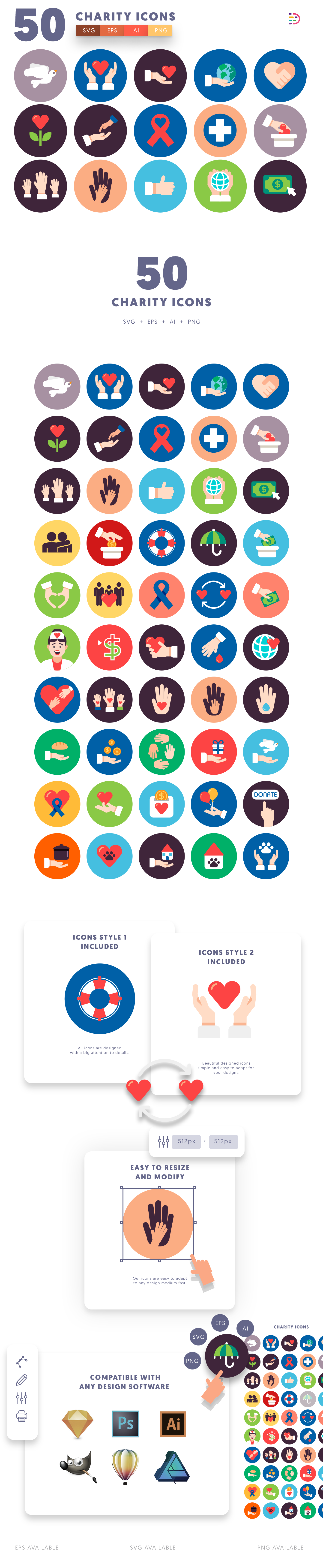 50 Charity Icons list