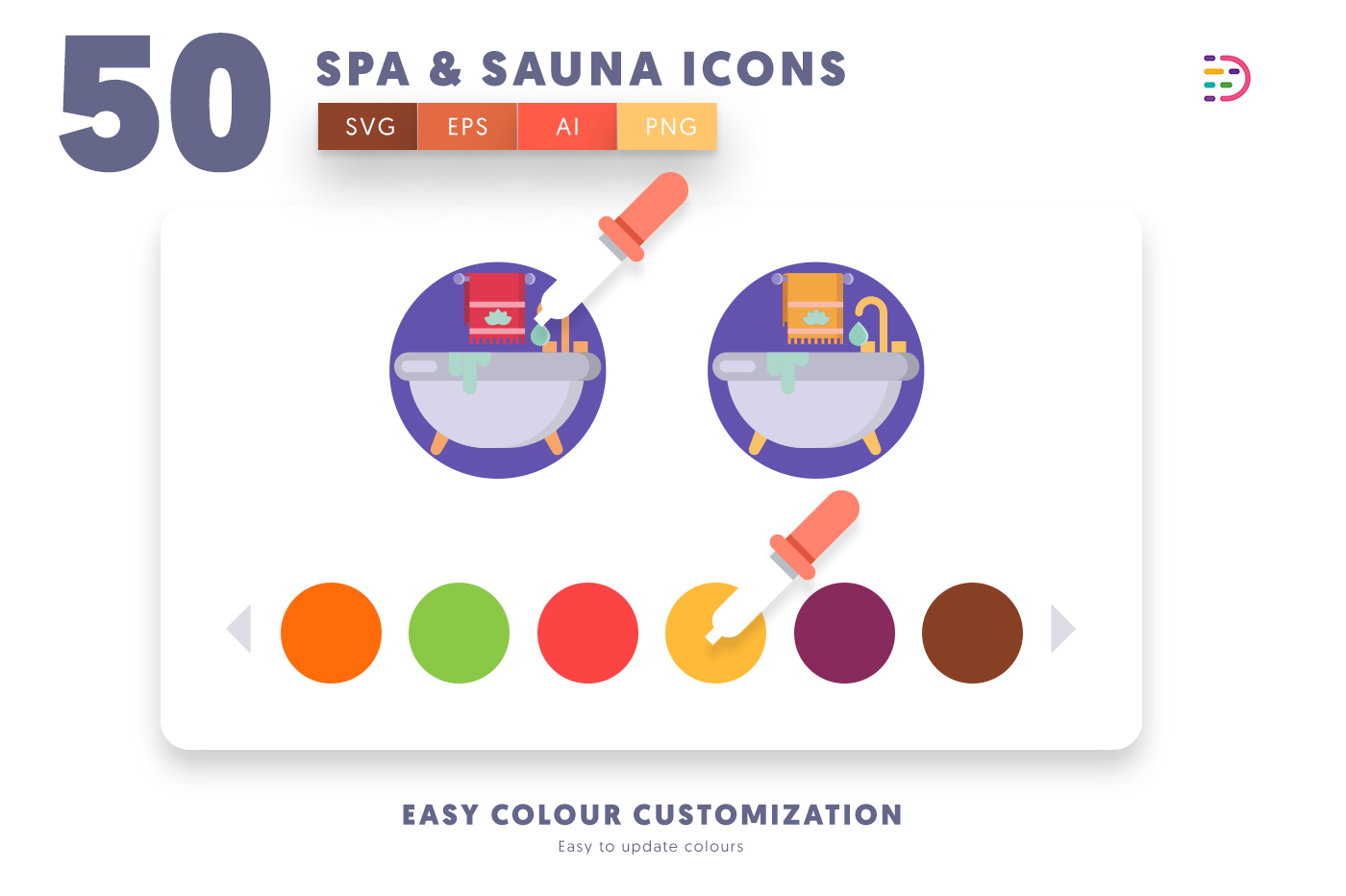 Customizable and vector 50 Spa and Sauna Icons