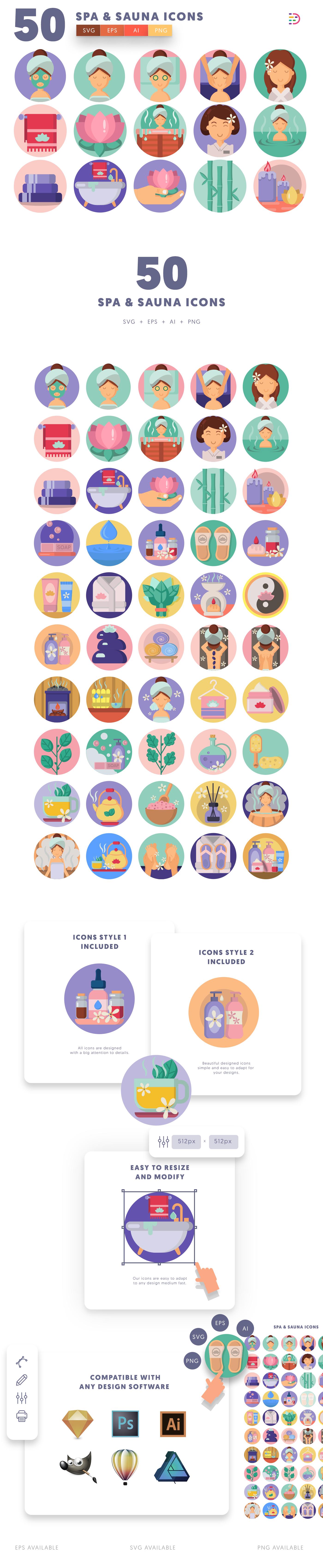 50 Spa and Sauna Icons list
