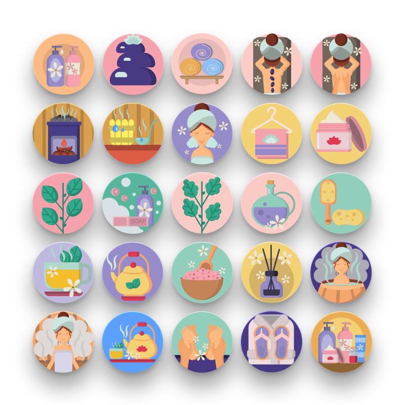 50 Spa and Sauna Icons