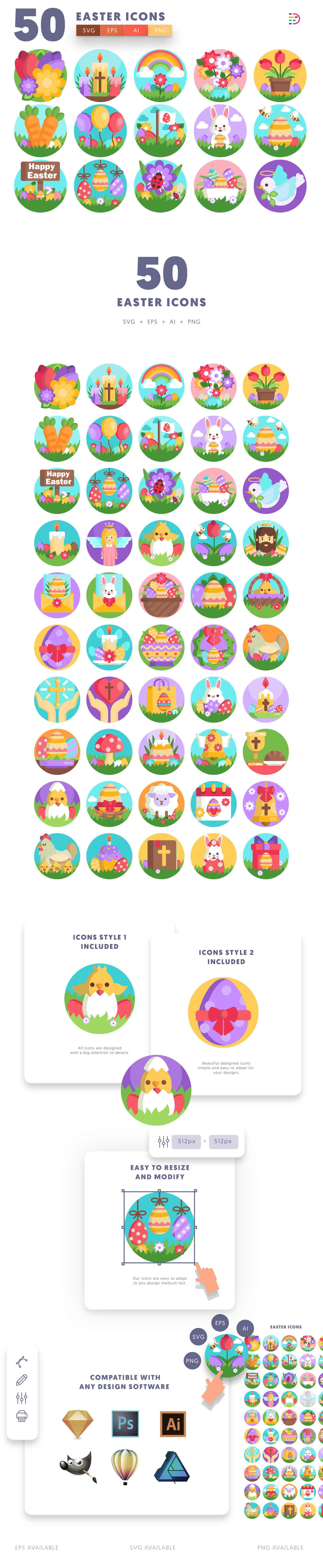 50 Easter Icons list