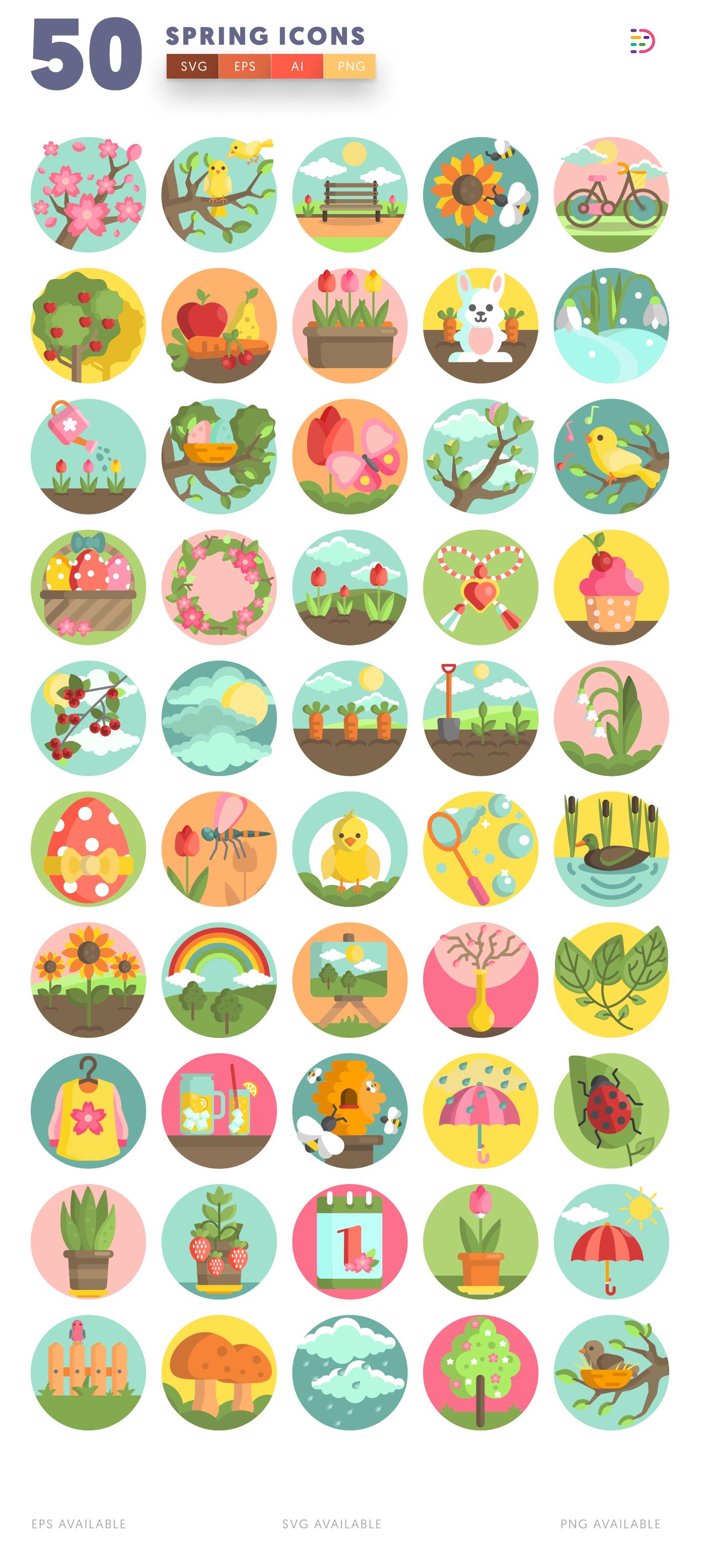 Design ready 50 Spring Icons