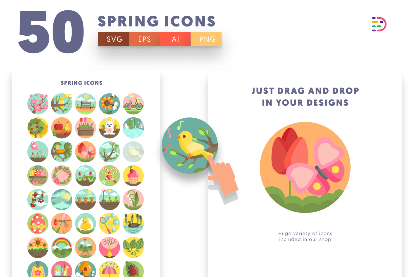 50 Spring Icons with colored backgrounds