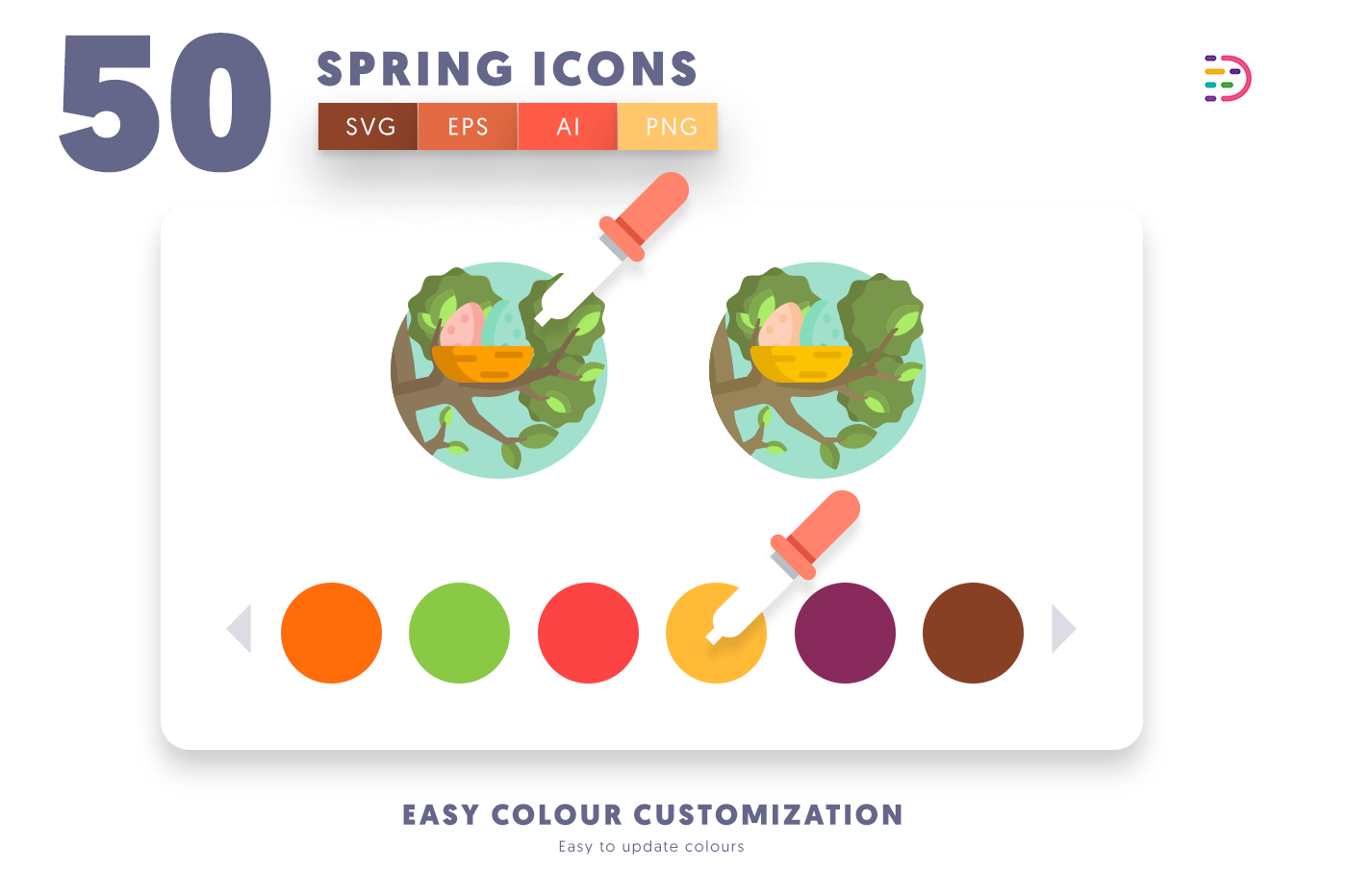 EPS, SVG, PNG full vector 50 Spring Icons