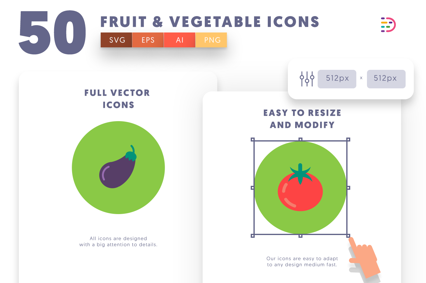 Full vector 50 Fruits & Vegetable Icons