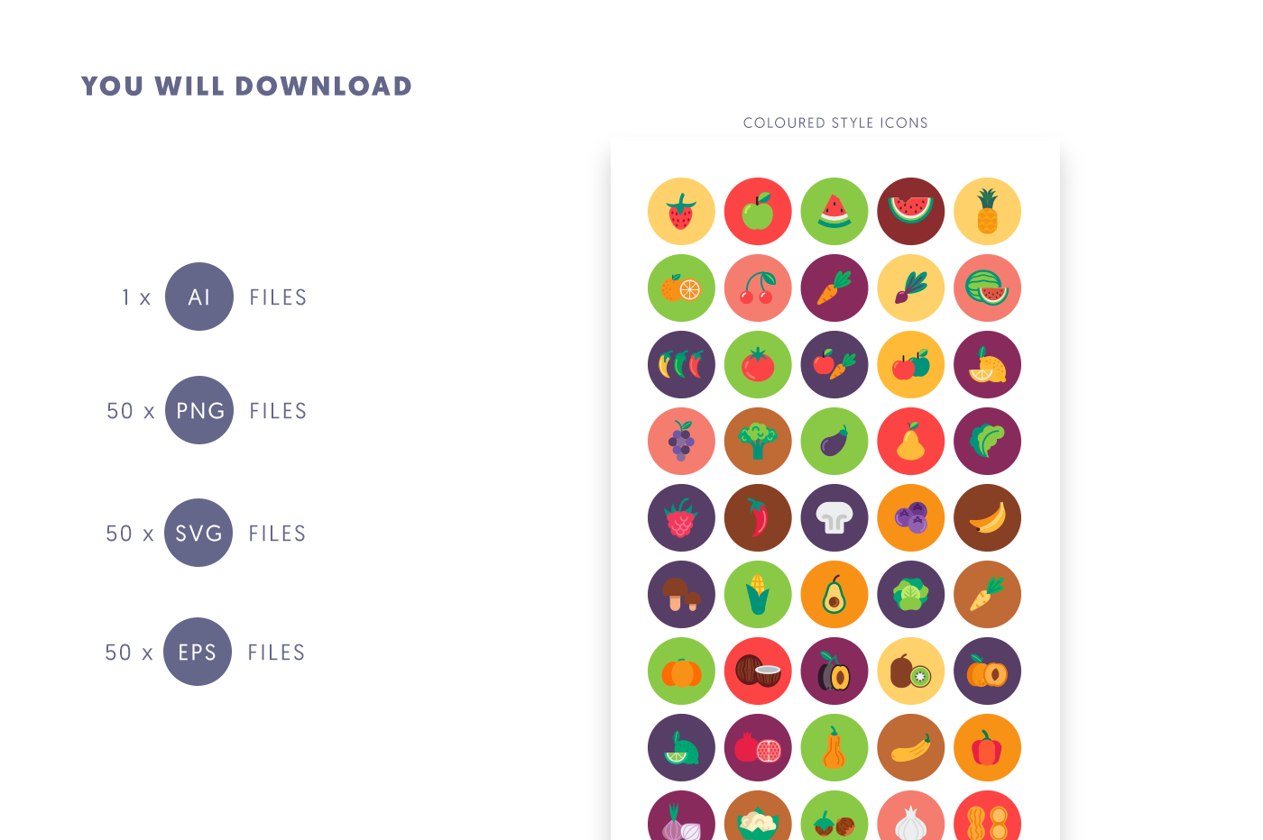 50 Fruits & Vegetable Icons