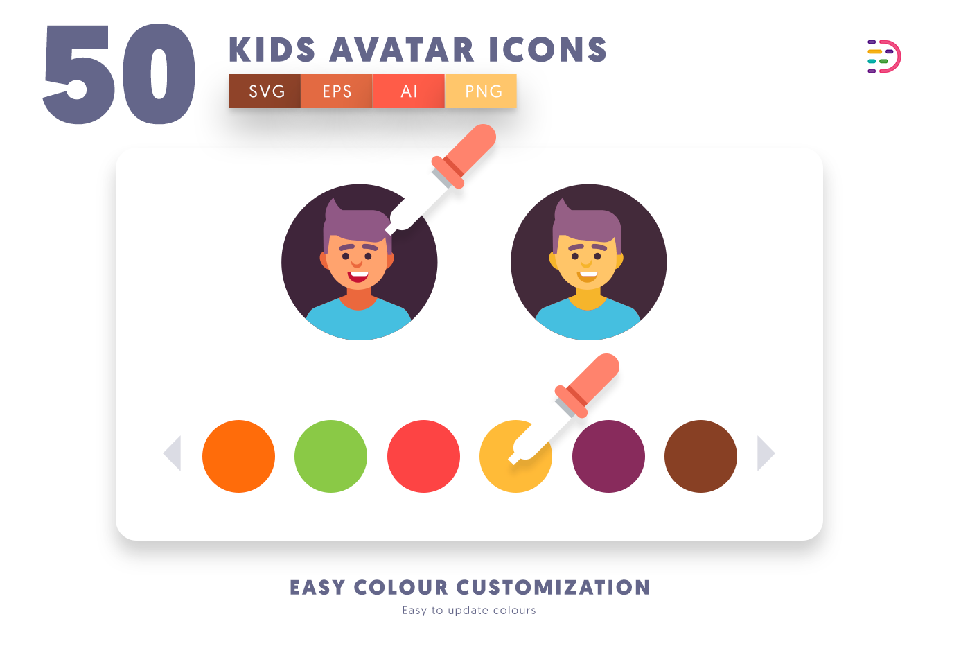 EPS, SVG, PNG full vector 50 Kids Avatar Icons