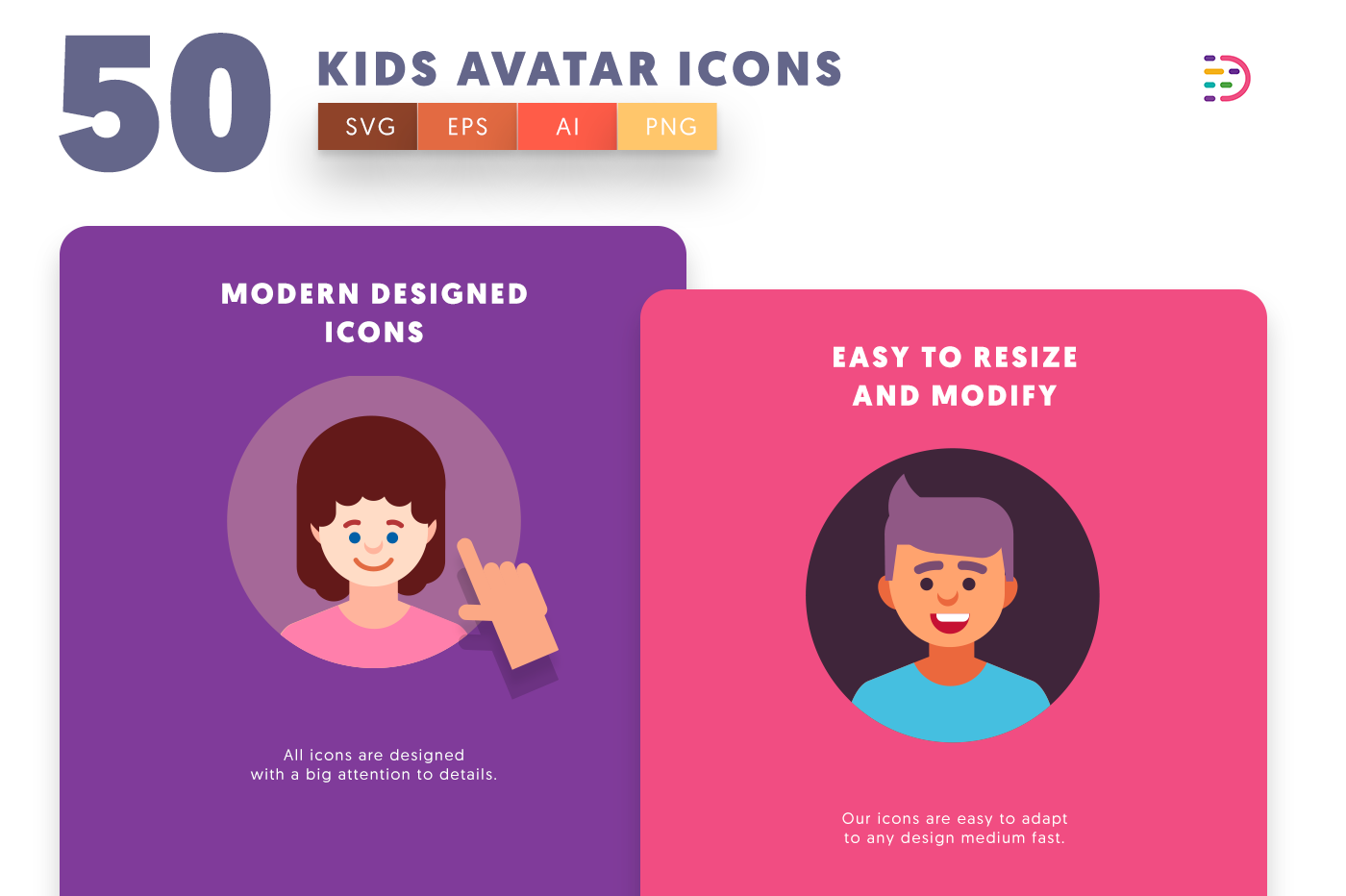 Drag and drop vector 50 Kids Avatar Icons