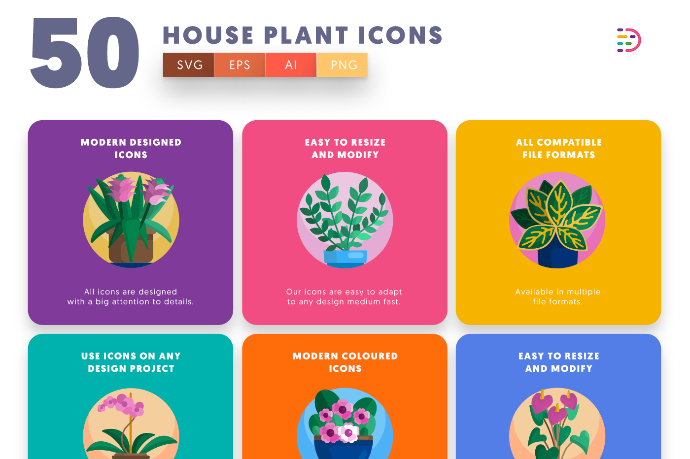 Full vector 50 House Plant Icons