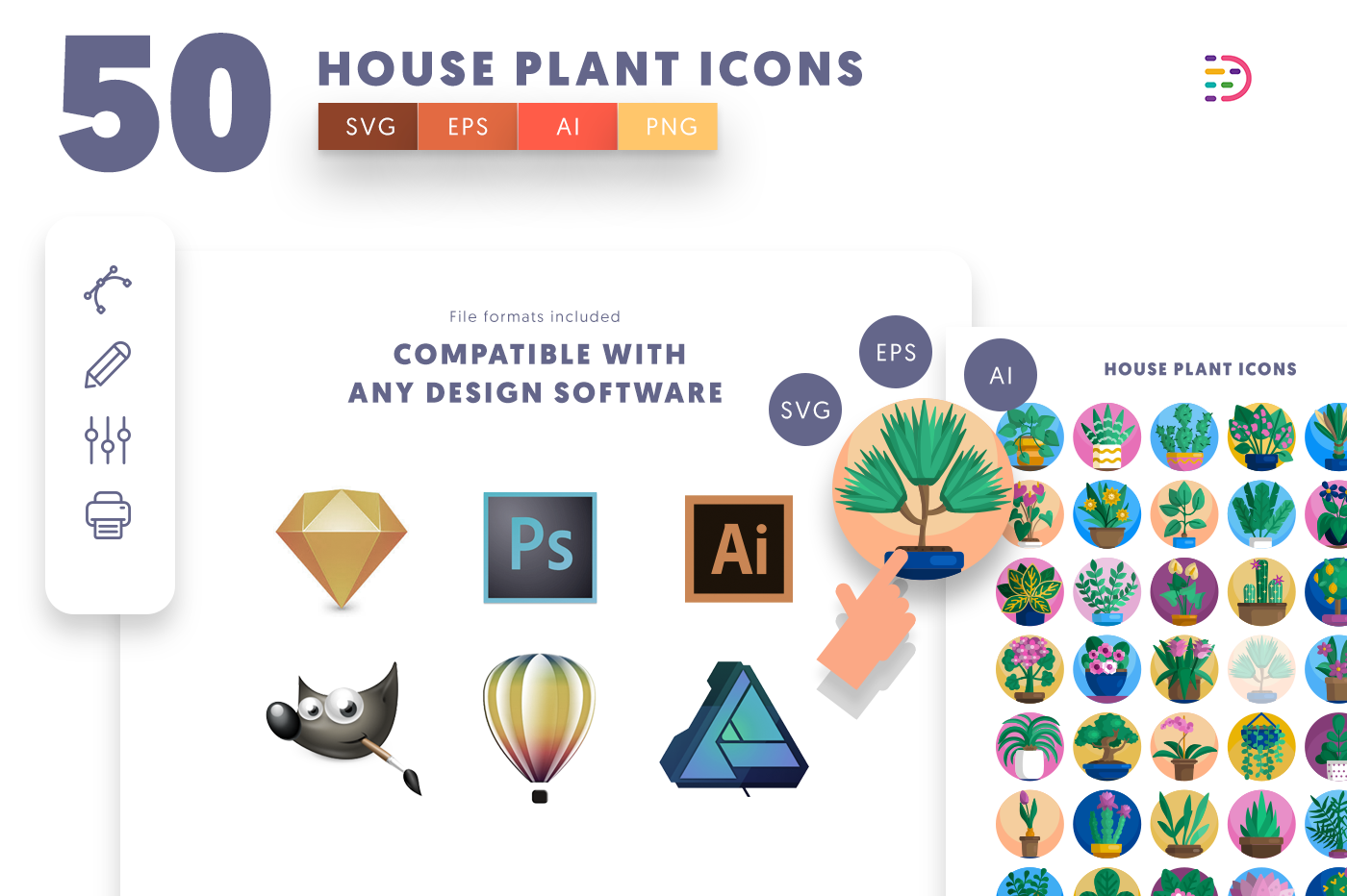 Compatible 50 House Plant Icons pack