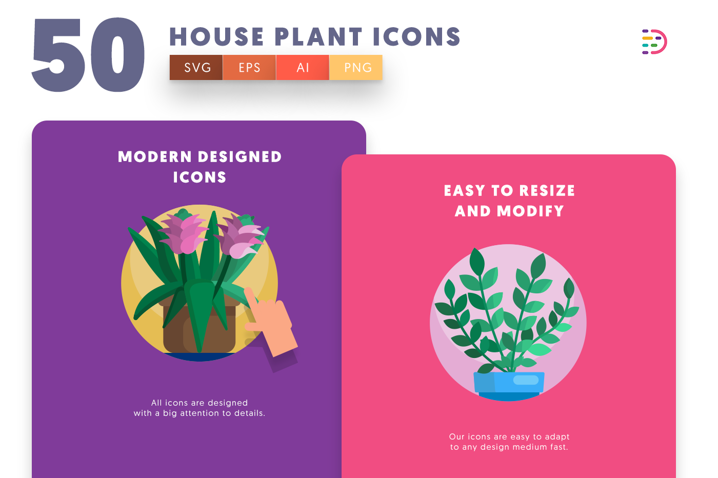 Drag and drop vector 50 House Plant Icons