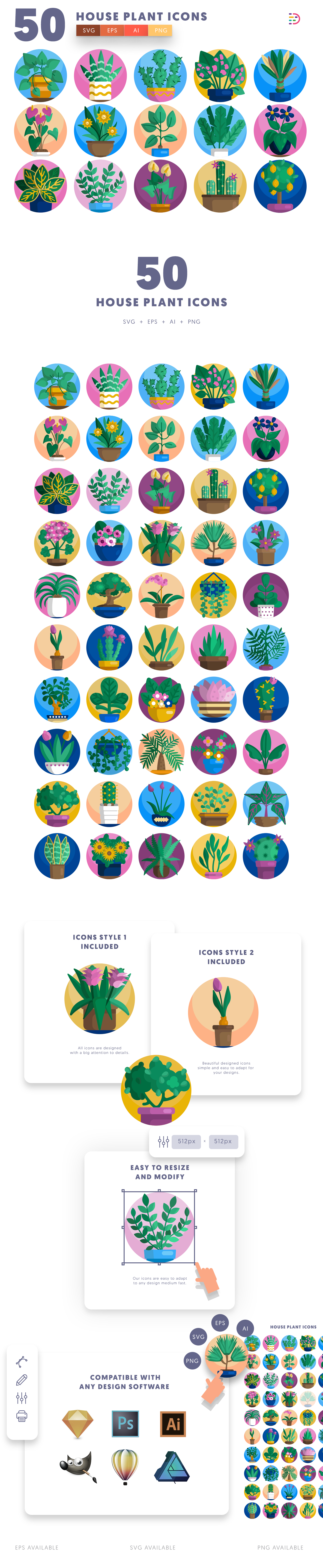 50 House Plant Icons list