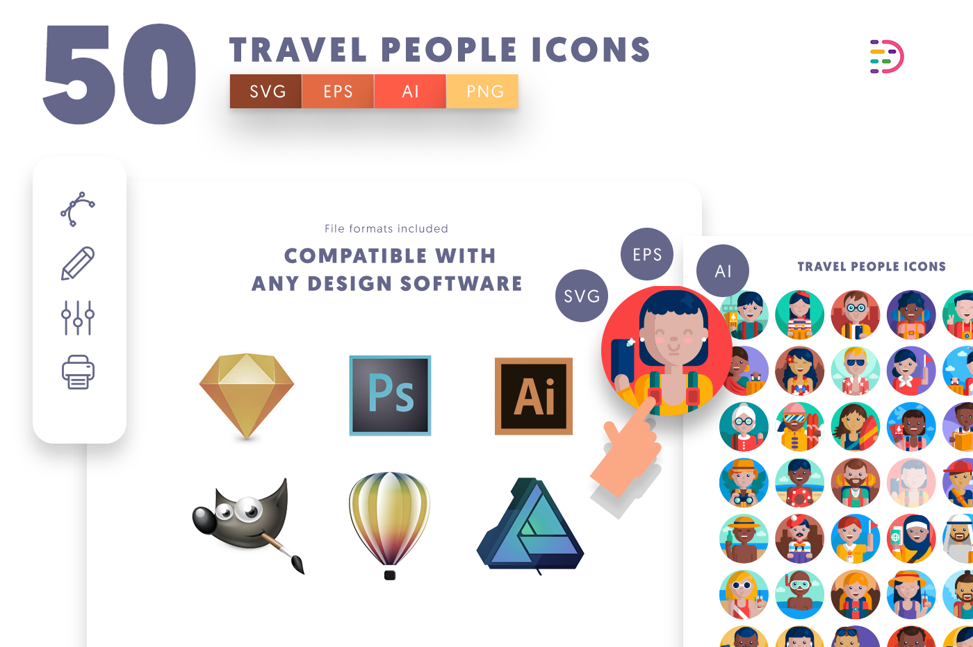 Compatible 50 Travel People Icons pack