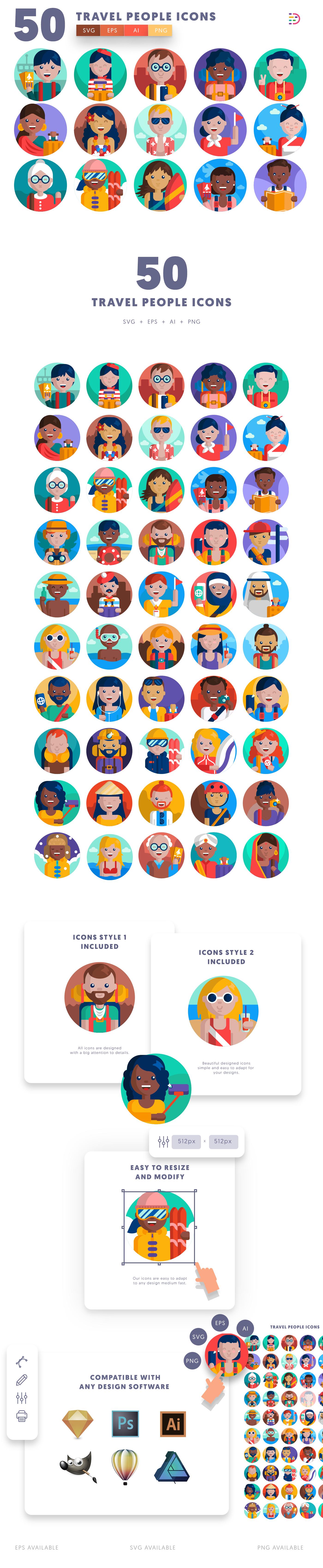 50 Travel People Icons list
