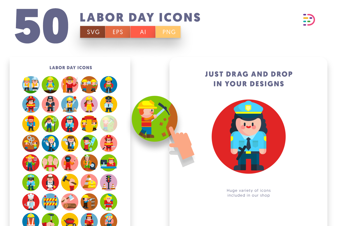 Design ready 50 Labor Day Icons