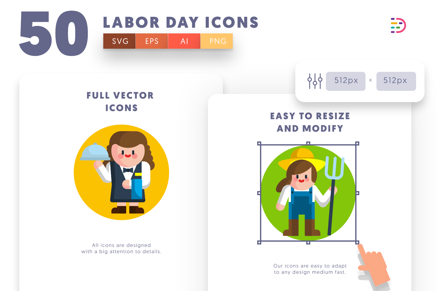 Customizable and vector 50 Labor Day Icons