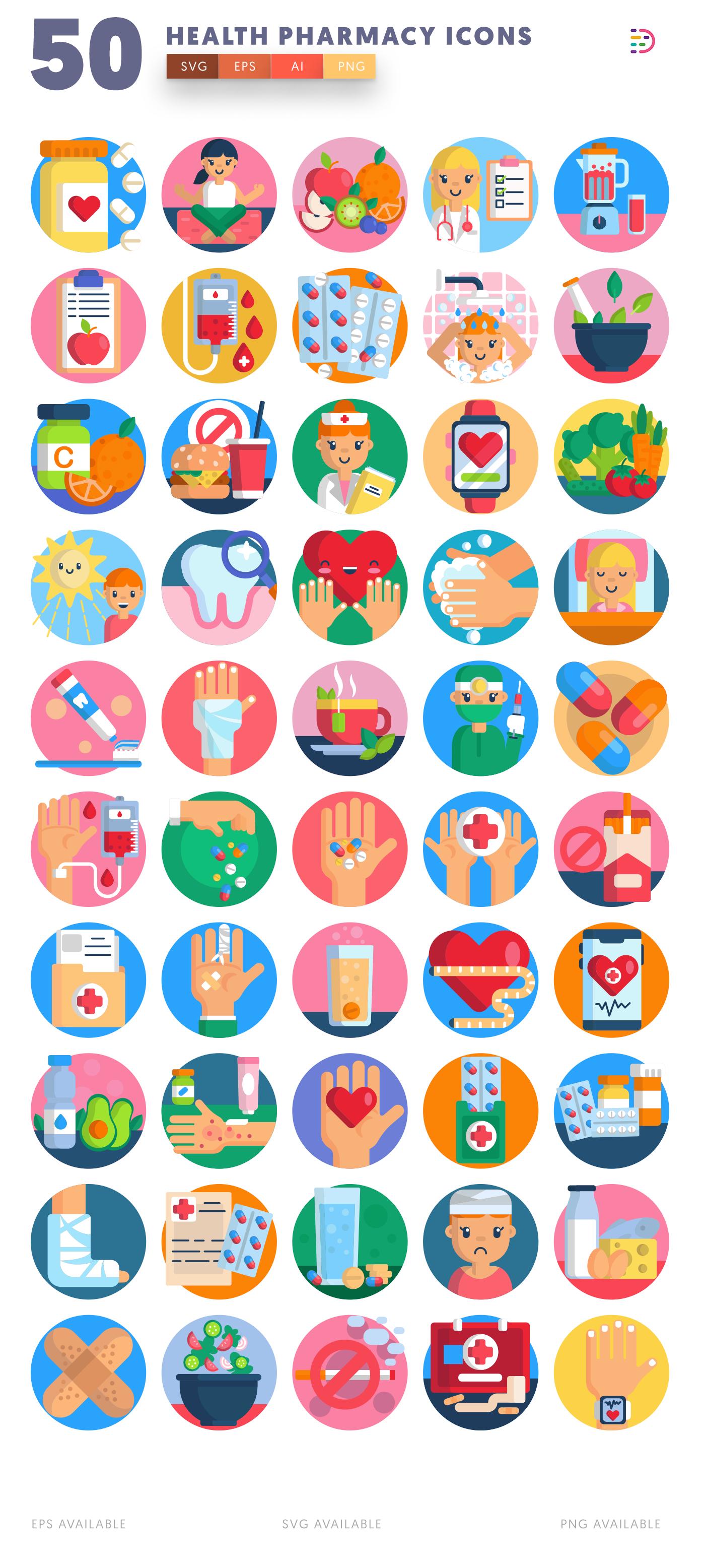 Design ready 50 Health Pharmacy Icons