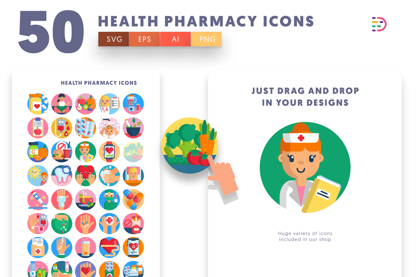 50 Health Pharmacy Icons with colored backgrounds