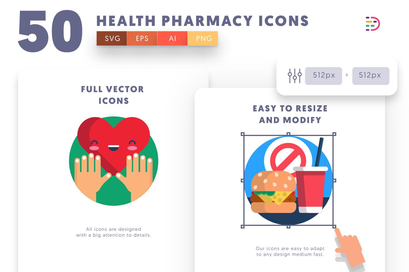 Customizable and vector 50 Health Pharmacy Icons