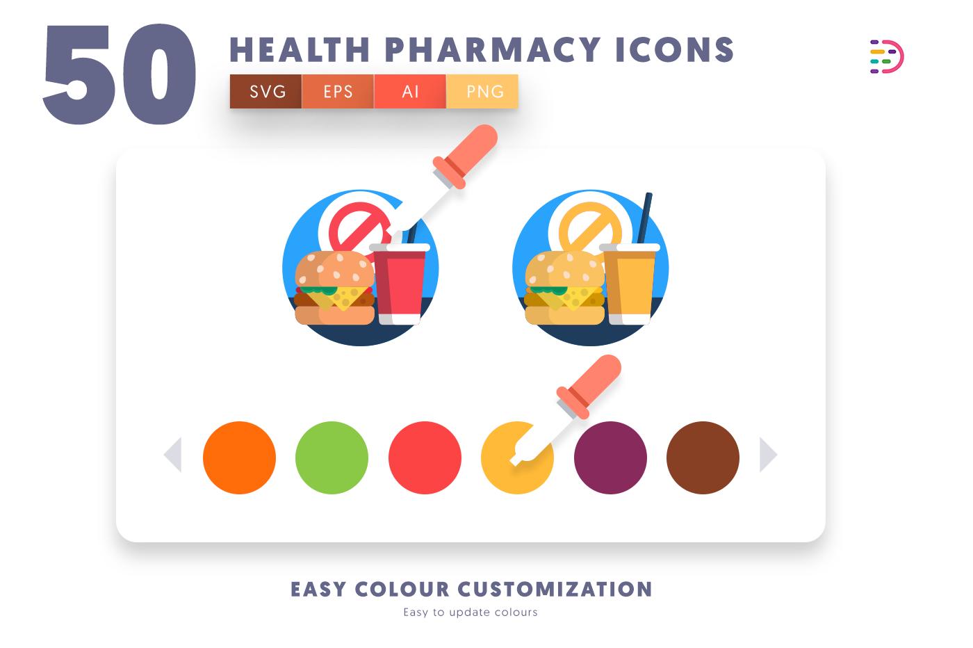 EPS, SVG, PNG full vector 50 Health Pharmacy Icons