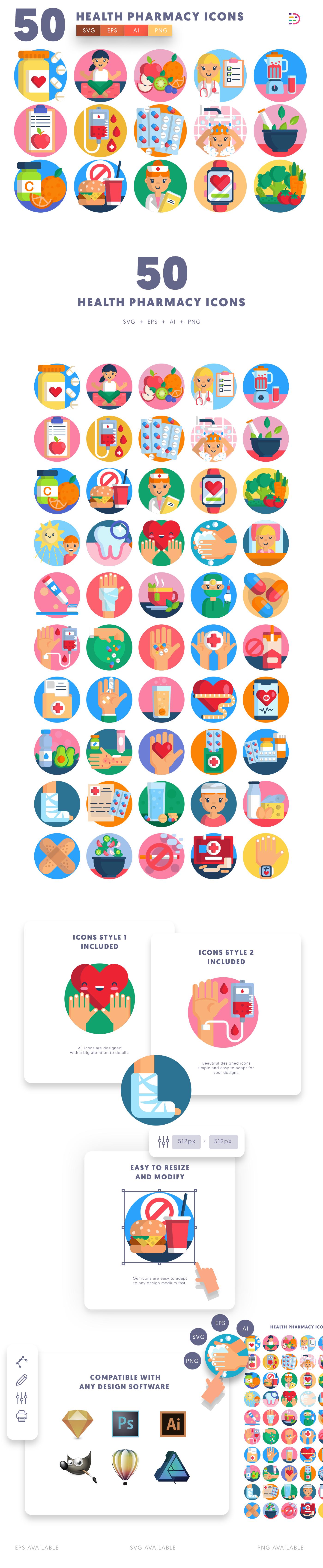50 Health Pharmacy Icons list