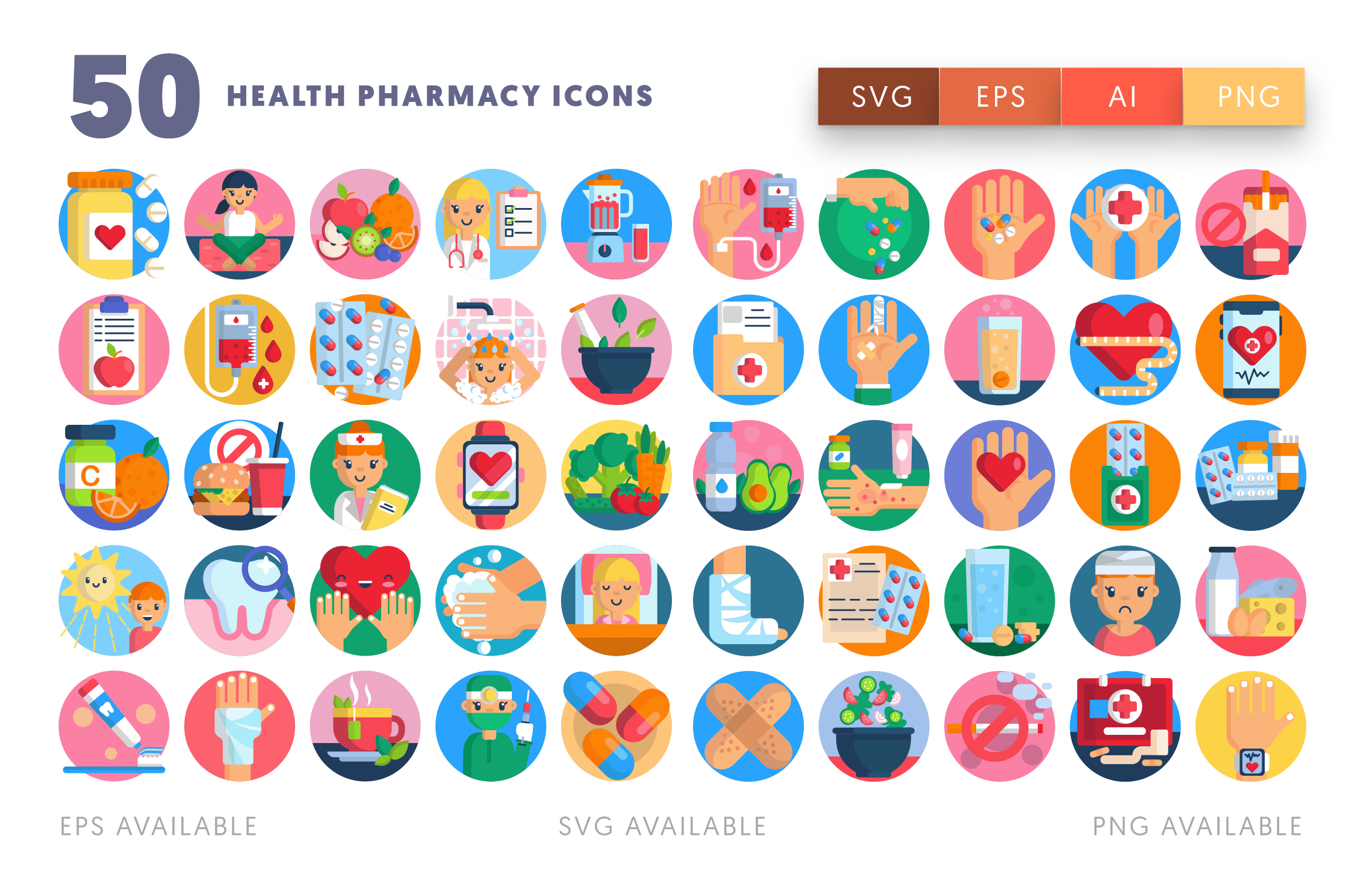 50 Health Pharmacy Icons