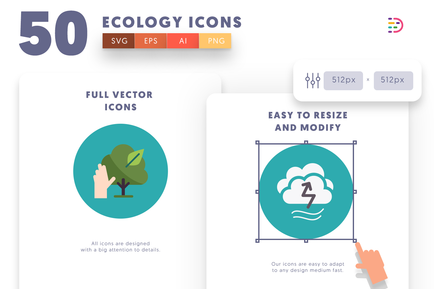 Customizable and vector 50 Ecology Icons