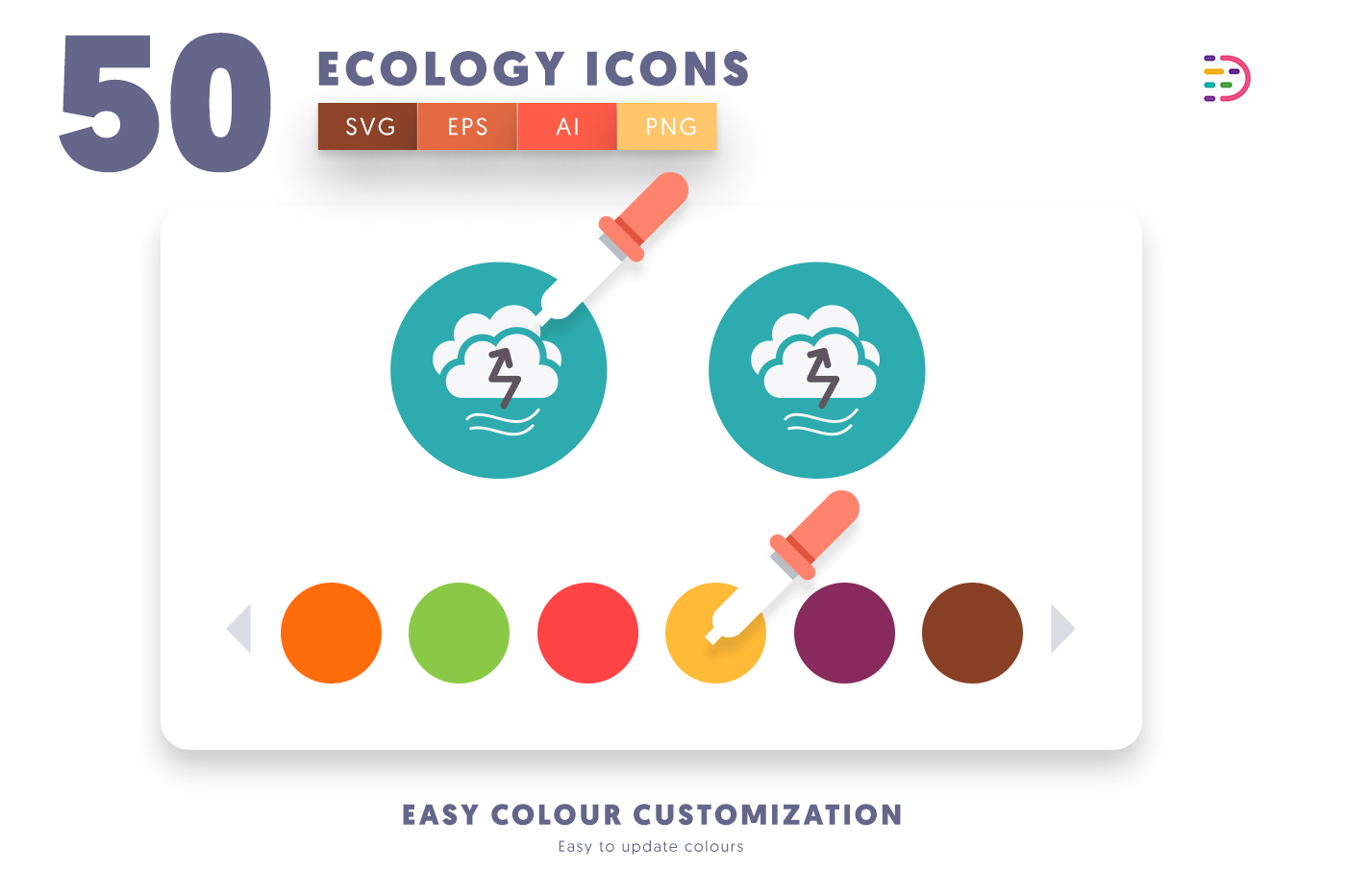 EPS, SVG, PNG full vector 50 Ecology Icons
