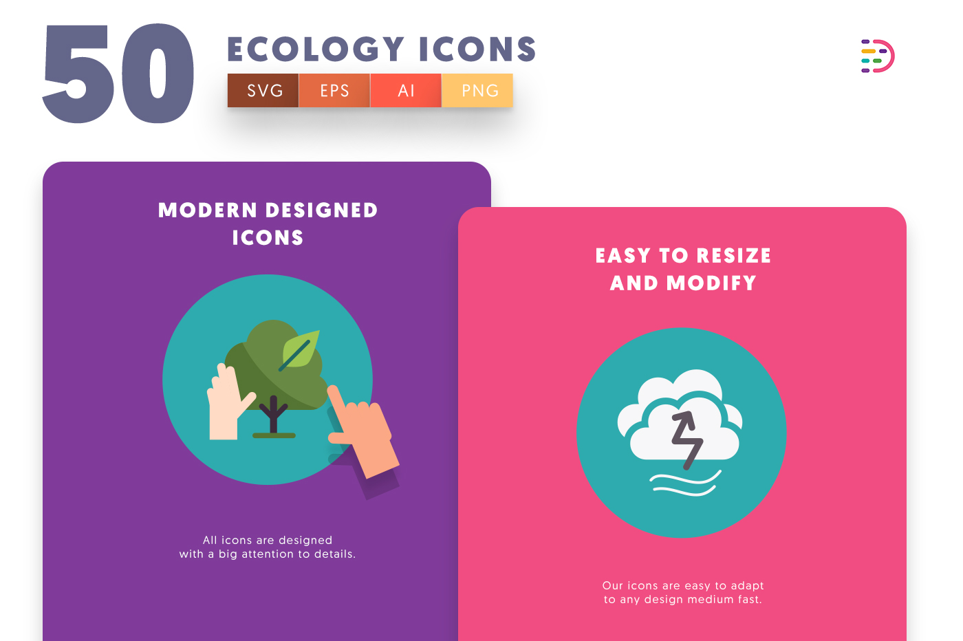 Drag and drop vector 50 Ecology Icons