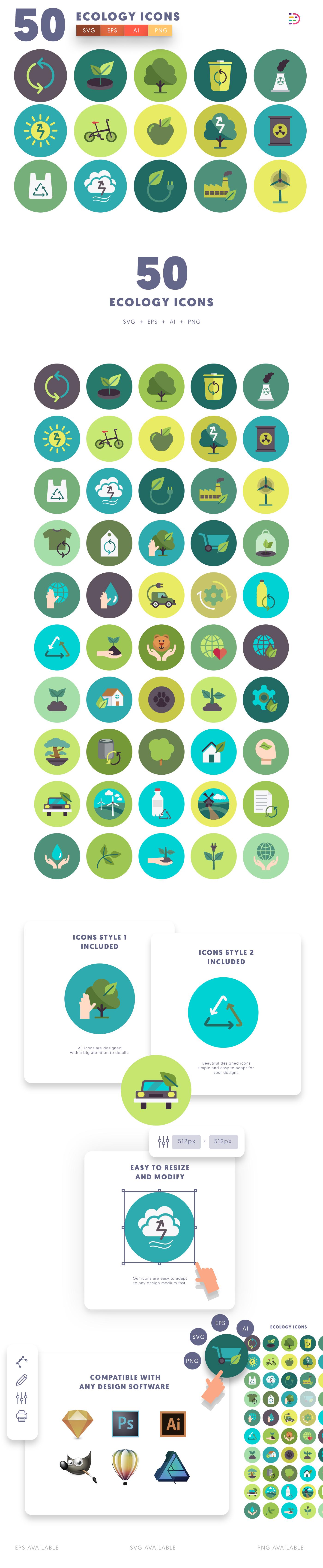 50 Ecology Icon list