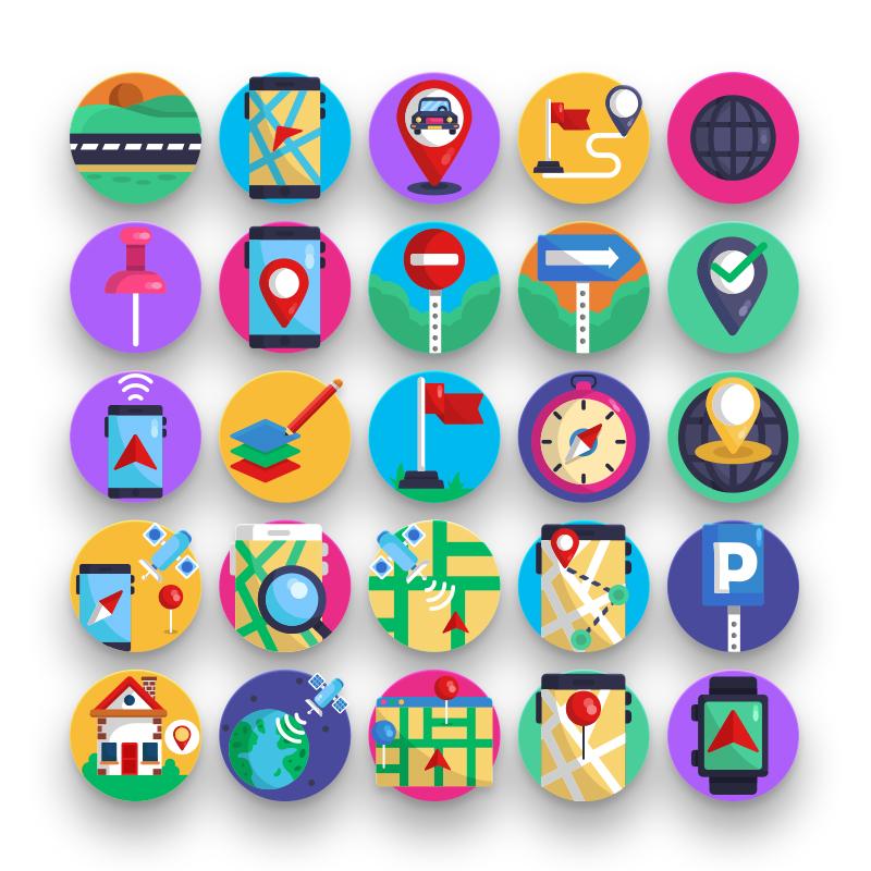 50 Map & Navigation Icons