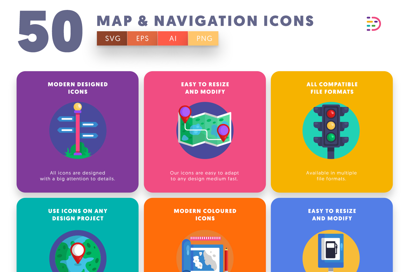 Full vector 50 Map & Navigation Icons
