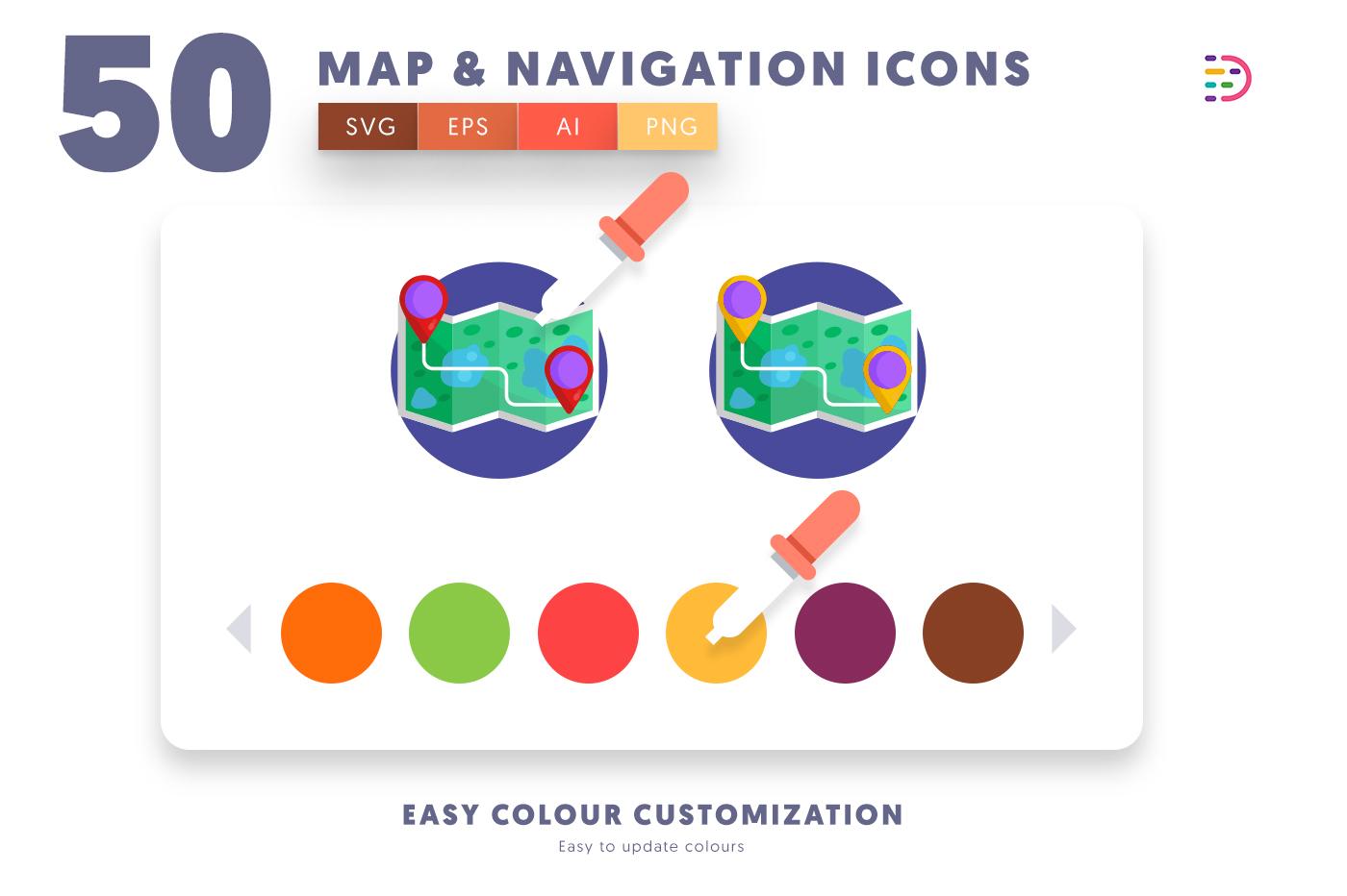 EPS, SVG, PNG full vector 50 Map & Navigation Icons